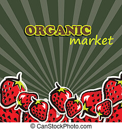 concetto, cibo organico, illustrazione, vettore, strawberries.