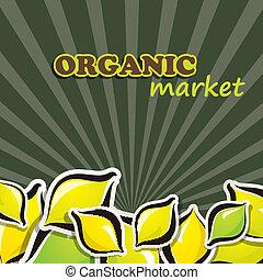 concetto, cibo organico, lemon., illustrazione, vettore