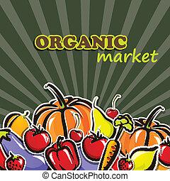 concetto, cibo organico, verdura, illustrazione, vettore, fruit.