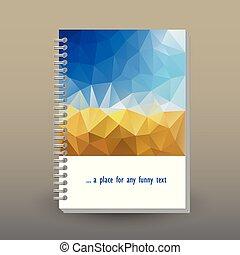 concetto, cielo, sopra, giallo, anello, blu, disposizione, modello, -, spirale, polygonal, triangolo, formato, rilegatore, quaderno, diario, opuscolo, raccogliere, colorato, coperchio, vettore, a5, o