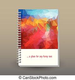 concetto, cielo, sopra, giallo, anello, paesaggio, blu, disposizione, modello, -, spirale, polygonal, triangolo arancia, formato, rilegatore, quaderno, diario, opuscolo, rosso, coperchio, vettore, a5, o