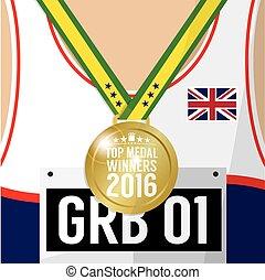 concetto, cima, vincitore, sport, 2016, medaglia