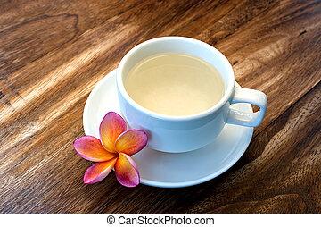 concetto, cinese, legno, wellness, tropicale, verde, plumeria, tè, terme, tavola