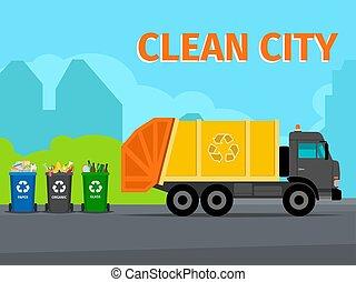 concetto, città, riciclaggio, spreco