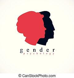 concetto, classico, semplice, profili, chiudere, logotipo, design., stile, teste, psicologia, famiglia, relazioni, donna, relazione, simbolo, problemi, conflitti, uomo, society., creato, genere, vettore, o