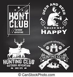 concetto, club, caccia, etichetta, camicia, disegno, montagne, vendemmia, fucile, forest., vector., orso, chalkboard., stampa, cervo, stamp., distintivo, set, tipografia, cacciatore