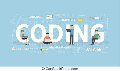 concetto, codificazione, illustration.
