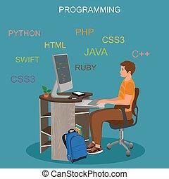 concetto, codificazione, vettore, programmazione, illustrazione