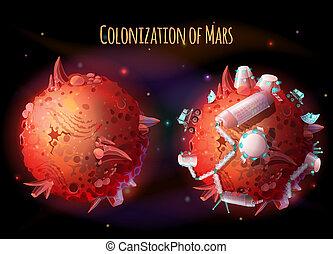 concetto, colonizzazione, illustrazione, marte