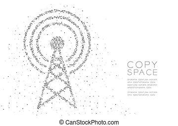 concetto, colorare, disegno astratto, antenna, modello, bianco, forma, cerchio nero, pixel, telecomunicazione, spazio, illustrazione, trasmissione, fondo, copia, geometrico, 10, eps, vettore, torre, puntino