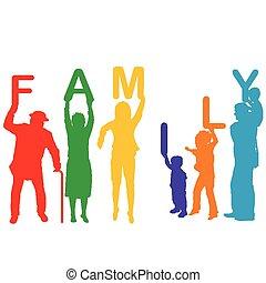 concetto, colorato, famiglia, silhouette, genitori, bambini