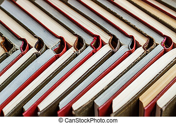 concetto, colorato, legno, libri, abitudini, lettura, tavola., accatastare