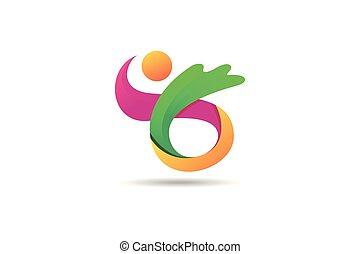 concetto, colorito, astratto, moderno, icona, logotipo, 3d