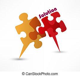 concetto, colorito, astratto, soluzione, forma, vettore, puzzle, design.