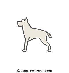 concetto, colorito, cane, vettore, linea, icona