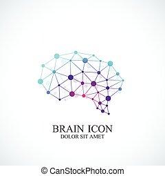 concetto, colorito, creativo, cervello, vettore, disegno, sagoma, logo., icona