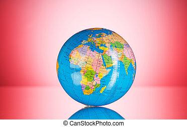 concetto, colorito, pendenza, globo, -, contro, fondo, globalisation