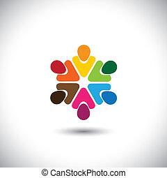 concetto, colorito, persone, -, vettore, teamwork., squadra, cerchio