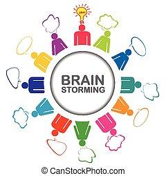 concetto, colorito, prendere, idea, brainstorming, lavoro squadra, discutere