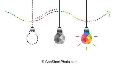 concetto, colorito, sviluppo, luce, creatività, bulbo