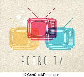 concetto, colorito, tv, disegno, retro, fondo