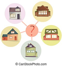 concetto, comprare, casa, paragonare, vettore, scegliere, affitto, proprietà, o
