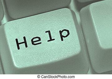 concetto, computer, chiave aiuto, tastiera