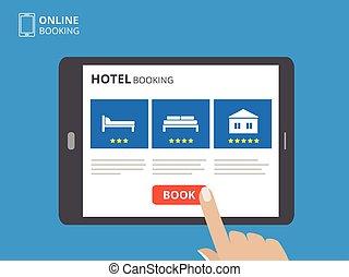 concetto, computer, tavoletta, bottone, albergo, screen., letto, mano, toccante, libro, disegno, icons., online., mostra, prenotazione