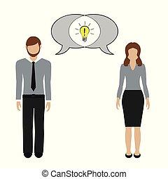 concetto, comunicazione, idea, donna, possedere, uomo