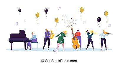 concetto, concerto, mostra, femmina, violino, carattere, strumento, trumpet., sassofono, pianoforte, appartamento, musicista, image., jazz, illustrazione, banda, cartone animato, celebrazione, cantante, vettore, contrabass, divertimento, musicale