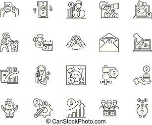 concetto, contorno, extra, set, icone, illustrazione, vettore, reddito, linea, segni