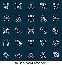 concetto, contorno, icone, outsourcing, vettore, disegno, o, elementi