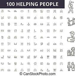 concetto, contorno, persone, set, icone, illustrazione, porzione, vettore, linea, segni