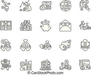concetto, contorno, set, icone, illustrazione, vettore, deposito, linea, segni
