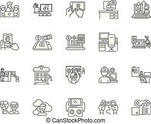 concetto, contorno, set, icone, illustrazione, vettore, equità, linea, segni, investimento