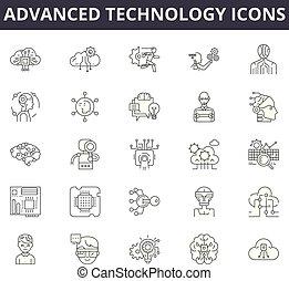 concetto, contorno, tecnologia avanzata, editable, icons., affari, innovazione, colpo, tecnologia, comunicazione, digitale, illustrazioni, linea, collegamento, ecc., icons:, signs.