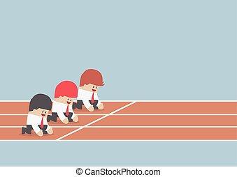 concetto, corsa, affari, punto, concorrenza, inizio, pronto, uomo affari