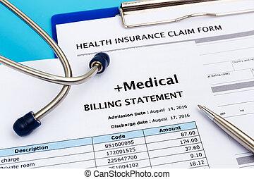 concetto, costo, assicurazione, sanità