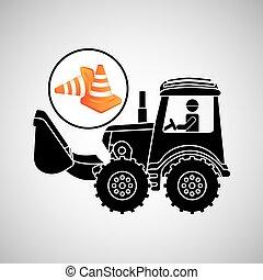 concetto, costruzione, camion, cono, disegno, strada