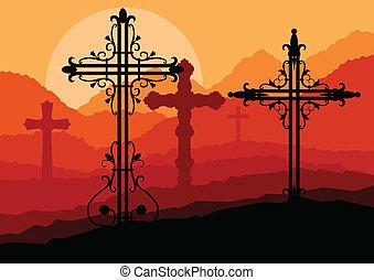 concetto, croce, vettore, tramonto, collina, fondo, paesaggio