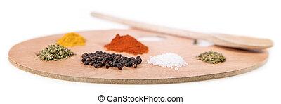 concetto, cuoco, come, un, artista, painter´s, tavolozza, con, colorito, erbe spezie
