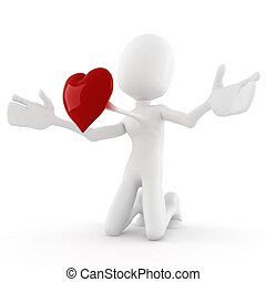 concetto, cuore, grande, valentina, uomo, rosso, 3d
