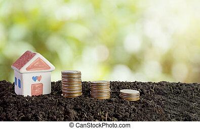concetto, denaro risparmio, suolo, costruire, casa