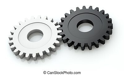 concetto di collaboration - two gears of different color (3d...