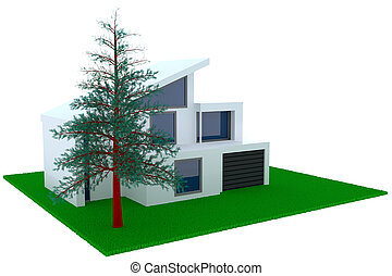 concetto, di, contemporaneo, casa, con, garage