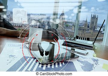 concetto, di, fuoco, obiettivo, con, digitale, diagramma, interfaces, ui, schermo, netwoork.workspace, di, excusive, ufficio, in, costruzione moderna