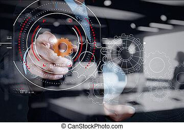 concetto, di, fuoco, obiettivo, con, digitale, diagramma, interfaces, ui, schermo, netwoork.businessman, esposizione, ingranaggio, o, dente, per, sucess, business.