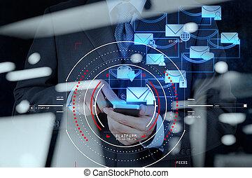 concetto, di, fuoco, obiettivo, con, digitale, diagramma, interfaces, ui, schermo, netwoork.businessman, lavorativo, con, posta elettronica, e, far male, telefono