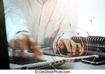 concetto, di, fuoco, obiettivo, con, digitale, diagramma, interfaces, ui, schermo, netwoork.hipster, finanza, analist, lavorando, trendy, ufficio