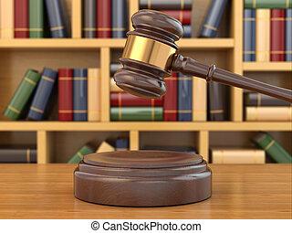 concetto, di, justice., martelletto, e, legge, books.